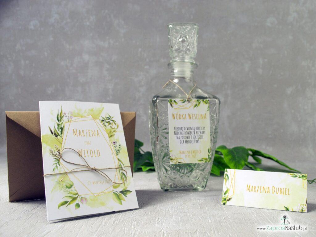 Geometryczne rustykalne zaproszenia ślubne, zawieszki na alkohol winietki z motywem zielonych liści ZAP-41-01