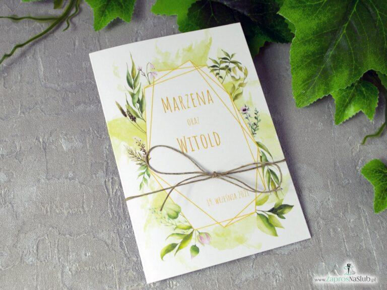 Geometryczne zaproszenie na ślub z motywe zielonych liści i sznurkiem eko ZAP-41-01