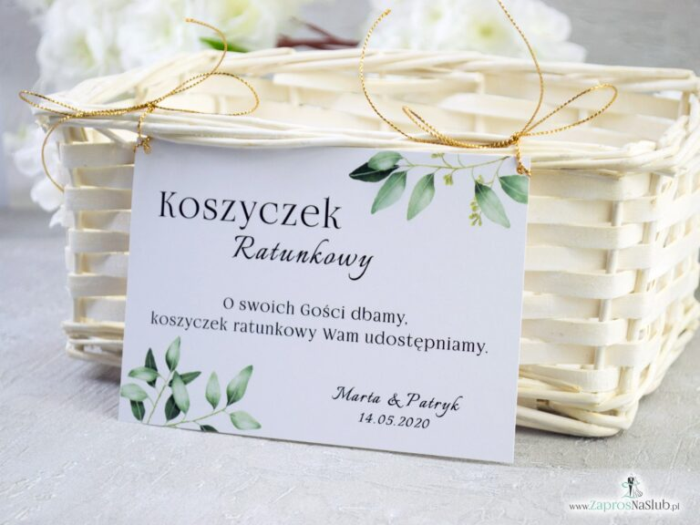 ZaprosNaSlub - Zaproszenia ślubne, personalizowane, boho, rustykalne, kwiatowe księga gości, zawieszki na alkohol, winietki, koperty, plany stołów - Koszyczek ratunkowy w stylu rustykalnym z motywem zielonych liści. KOS-115