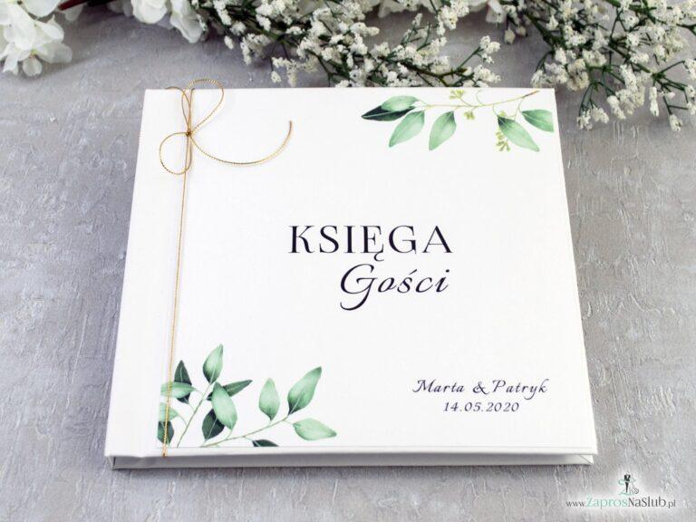 Księga gości z motywem gałązek z zielonymi liśćmi. KSG-115 - ZaprosNaSlub