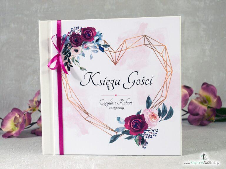 Księga gości z motywem bordowych i różowych róż oraz geometrycznym sercem. KSG-41-06 - ZaprosNaSlub
