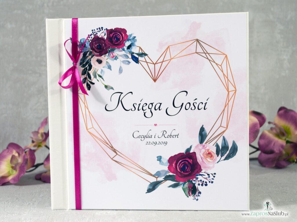 Księga gości geometryczna z sercem z motywem bordowych i różowych róż, modna geometryczne serce KSG-41-06