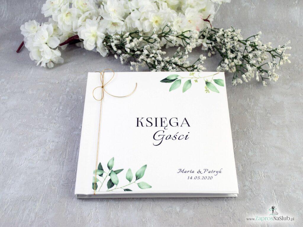Księga gości w stylu rustykalnym z gałązkami i zielonymi liśćmi KSG-115-min