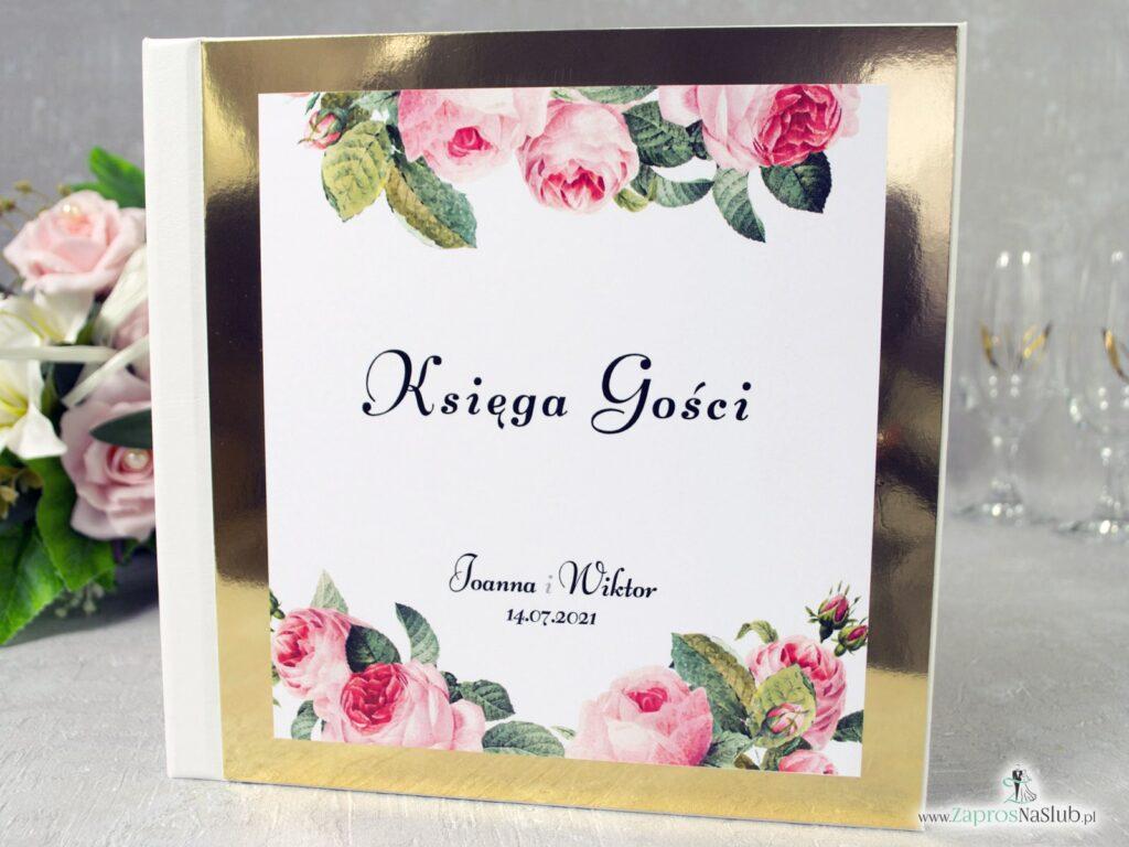 Księga gości weselnych z motywem kwiatów róży oraz zielonych liści na złotym papierze z efektem lustra KSG-110-min