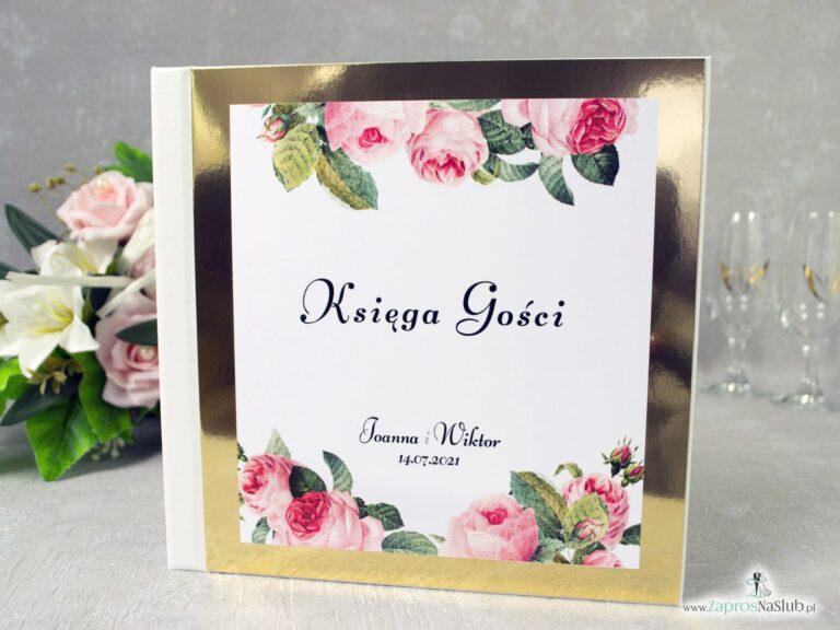 Księga gości z kwiatami róży oraz zielonych liści na złotym papierze z efektem lustra. KSG-110 - ZaprosNaSlub