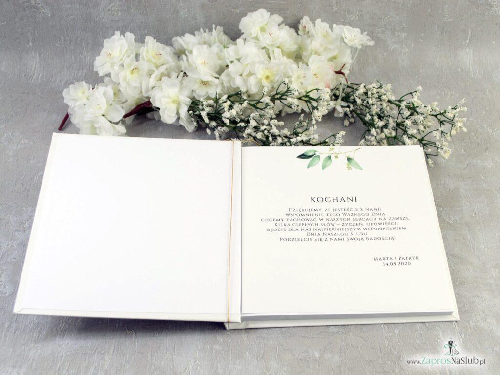 Księga gości z zielonymi listkami w stylu rustykalnym KSG-115-min
