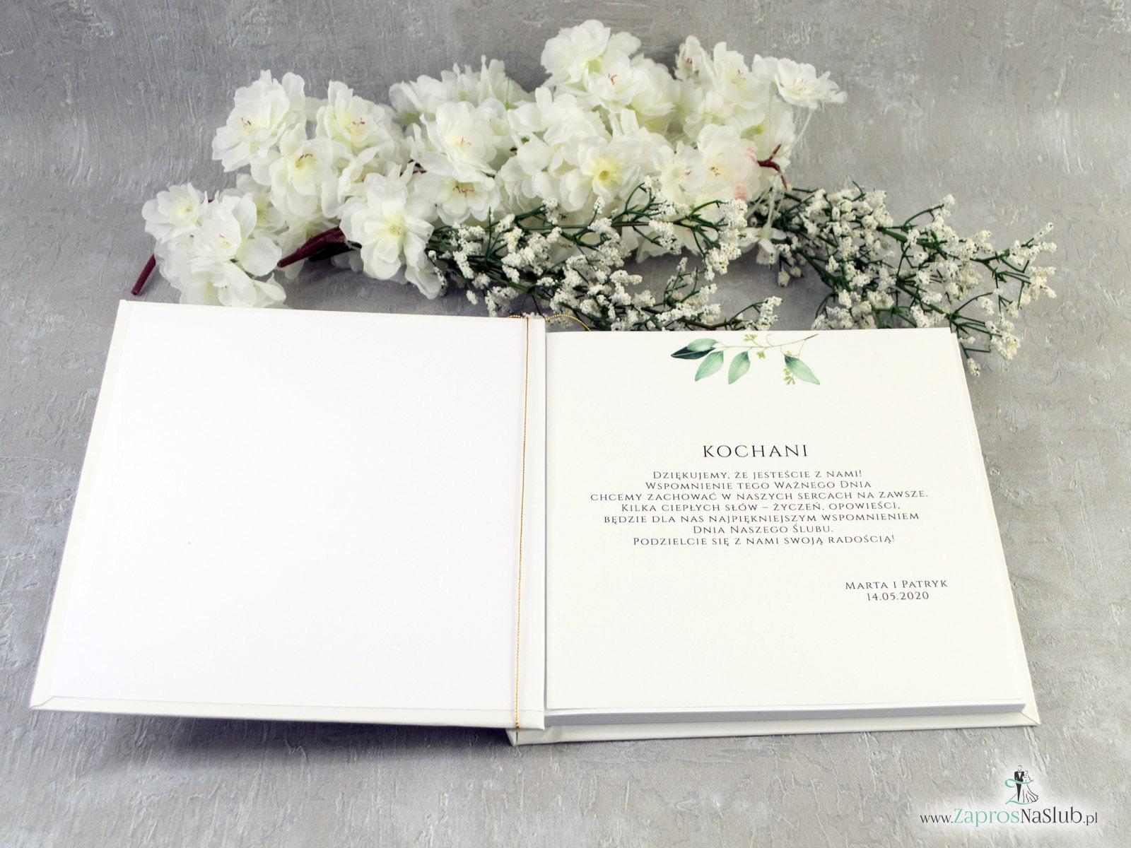 Księga gości z motywem gałązek z zielonymi liśćmi. KSG-115