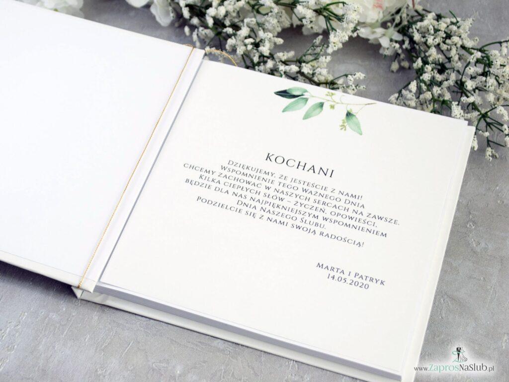 Księga gości. Styl rustykalny. Gałązki i zielone liście. KSG-115-min