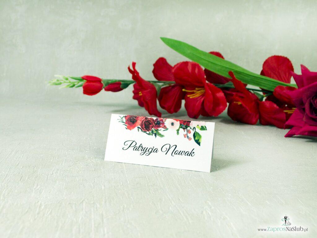 Kwiatowa winietka ślubna z kwiatami czerwonych róż, czerwone róze WIN-114-2-min