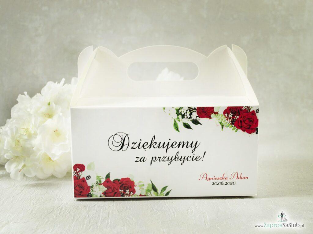 Kwiatowe pudełko na ciasto. Czerwone róże, zielone liście i białe maki. PDC-38-01-min