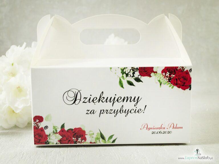 Kwiatowe pudełko na ciasto. Czerwone róże, zielone liście i białe maki. Podziękowanie dla gości. PDC-38-01-min