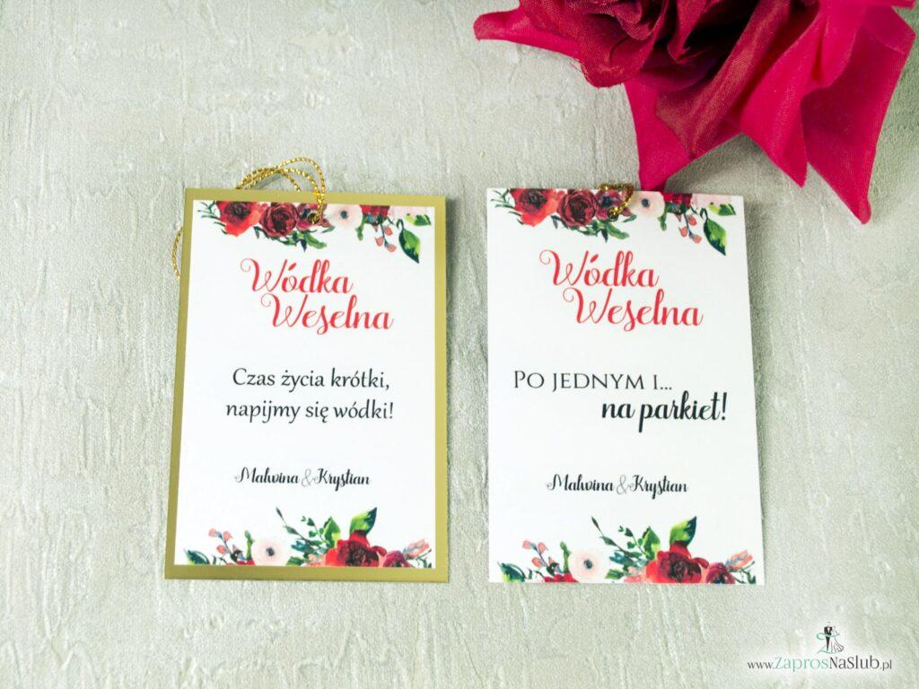Kwiatowe winietki ślubne, kwiaty róży czerwone, złoty papier efekt lustra ZAP-114-min