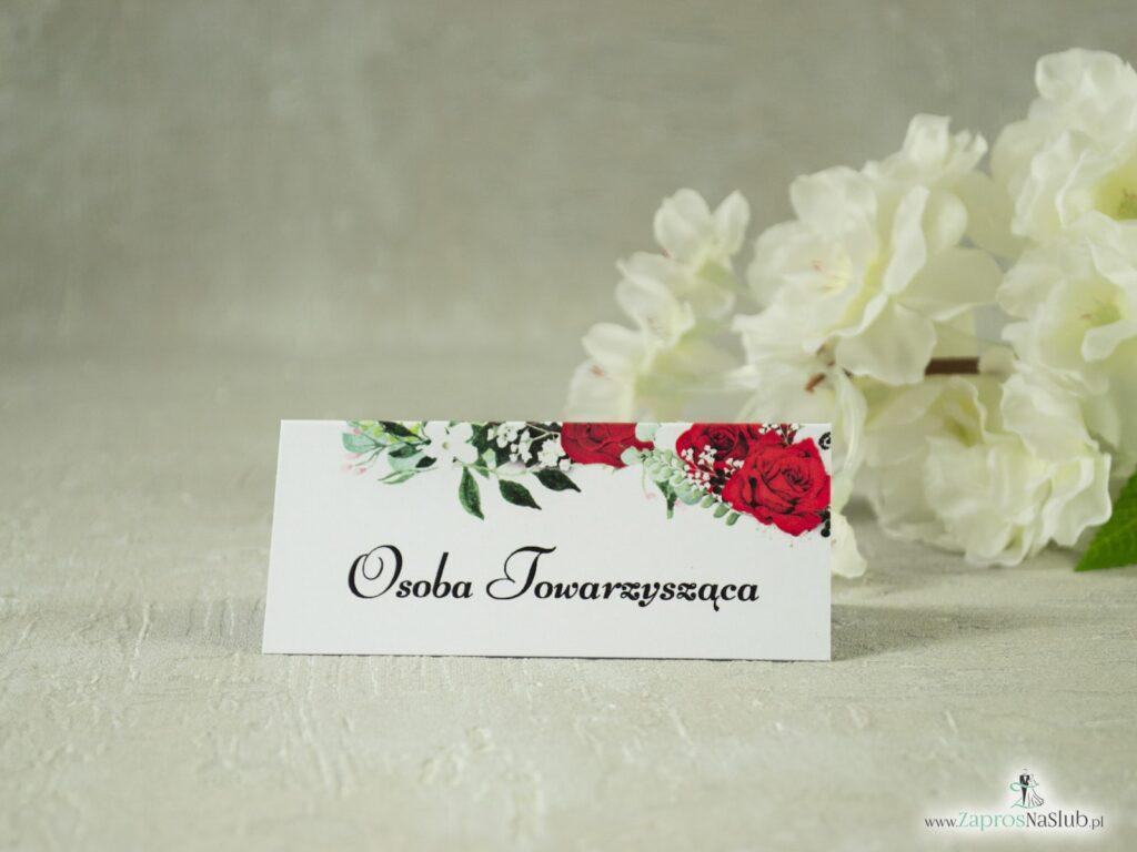 Kwiatowe winietki ślubne z motywem czerwonych róż oraz białych maków z zielonymi liśćmi. WIN-38-01-2