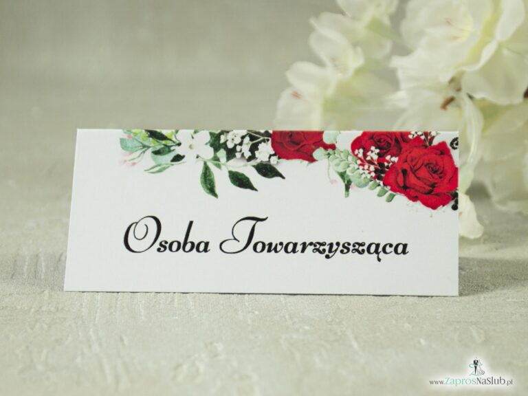 Kwiatowe winietki. Czerwone róże, zielone liście i białe maki. WIN-38-01-2