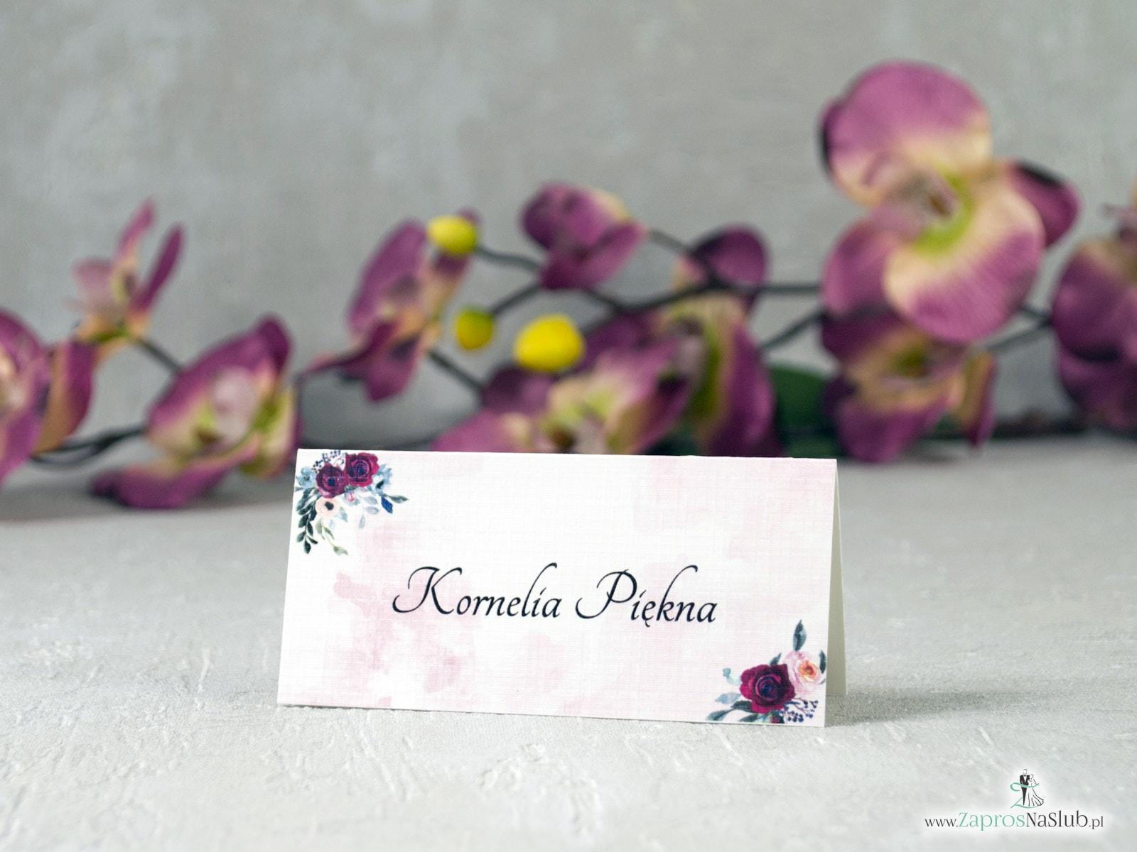 Modne winietki kwiatowe z bordowymi i różowymi różami oraz tłem. WIN-41-06