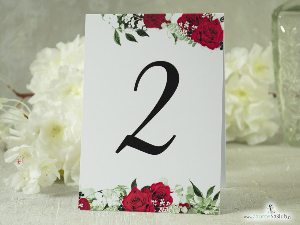 Numer na stół samostojący z motywem czerwonych róż, białych maków i zielonych liści NNS-38-01-2