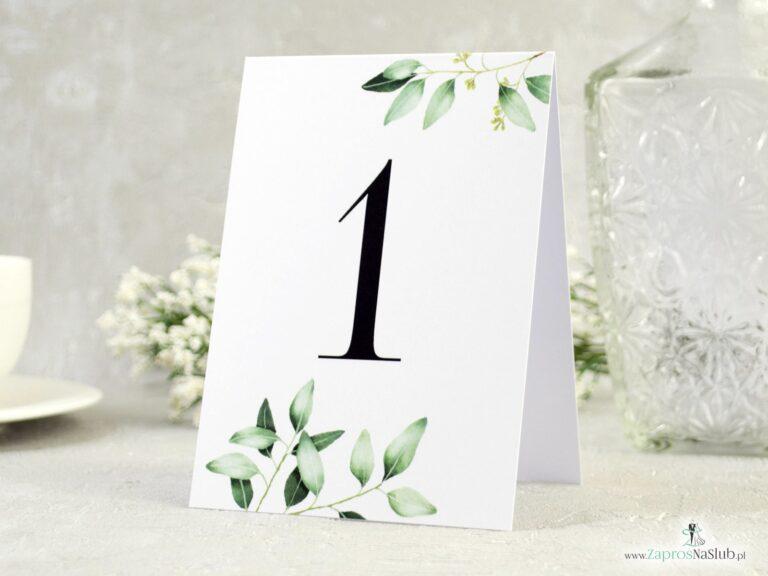 ZaprosNaSlub - Zaproszenia ślubne, personalizowane, boho, rustykalne, kwiatowe księga gości, zawieszki na alkohol, winietki, koperty, plany stołów - Numer na stół samostojący. Gałązki z zielonymi liśćmi. NNS-115