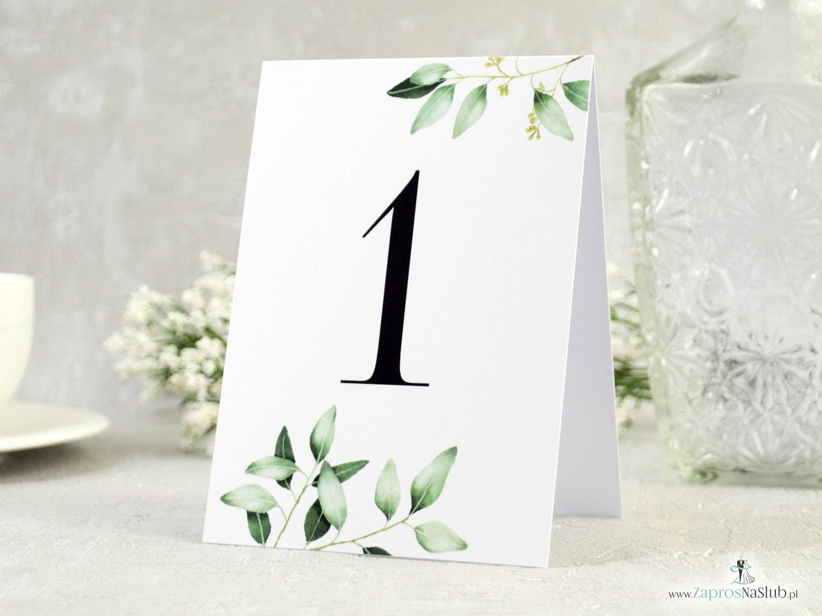 Numer na stół samostojący. Gałązki z zielonymi liśćmi. NNS-115