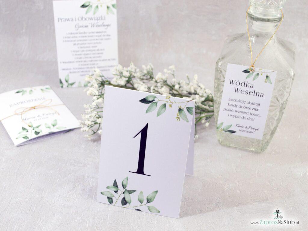 Numer stołu w stylu rustykalnym z motywem zielonych liści NNS-115-min