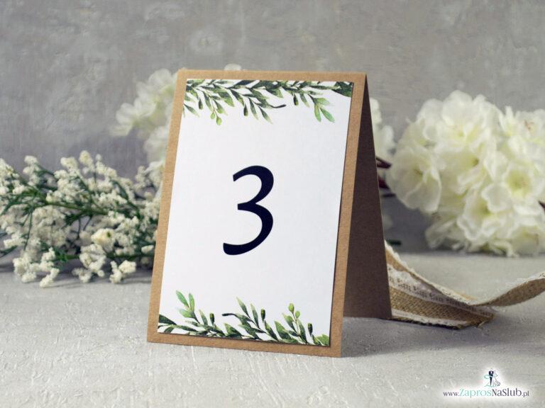 Numer na stół samostojący w stylu rustykalnym z motywem zielonych liści - ZaprosNaSlub