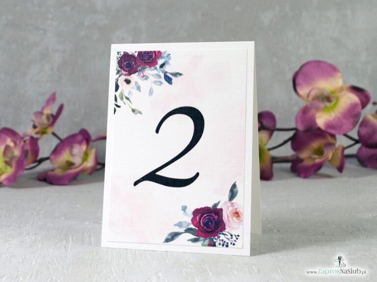Numer stoły z kwiatami róży w kolorze bordowym i różowym NNS-41-06