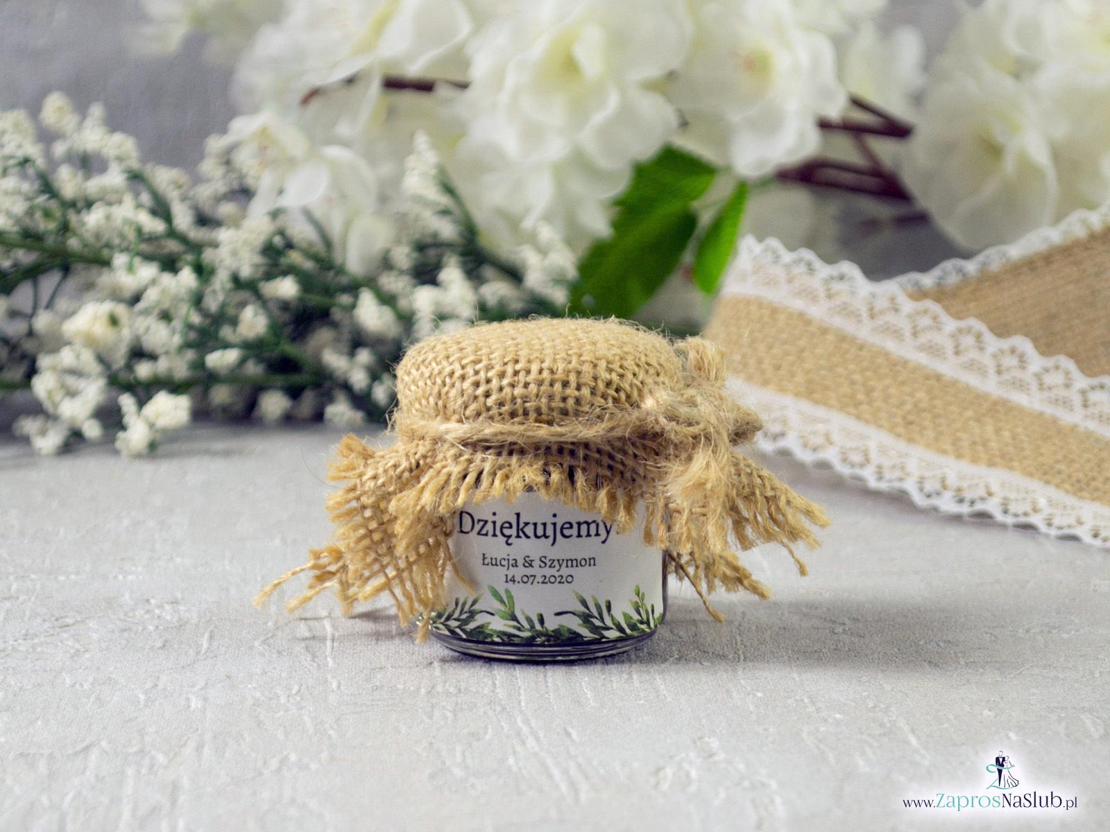 Słoiczek na miód lub dżem z etykietą w stylu rustykalnym z taśmą jutową oraz sznurkiem eko 40ml