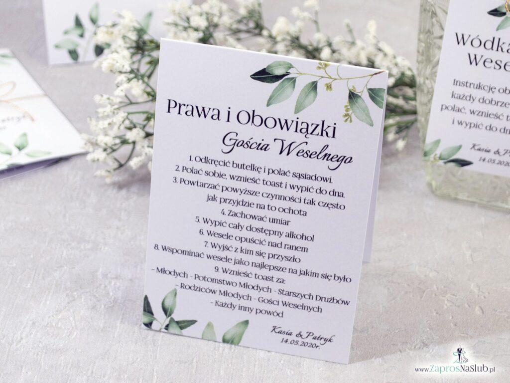 Prawa gościa weselnego. Rustykalny styl, gałązki, zielone liście PiOGW-115-min