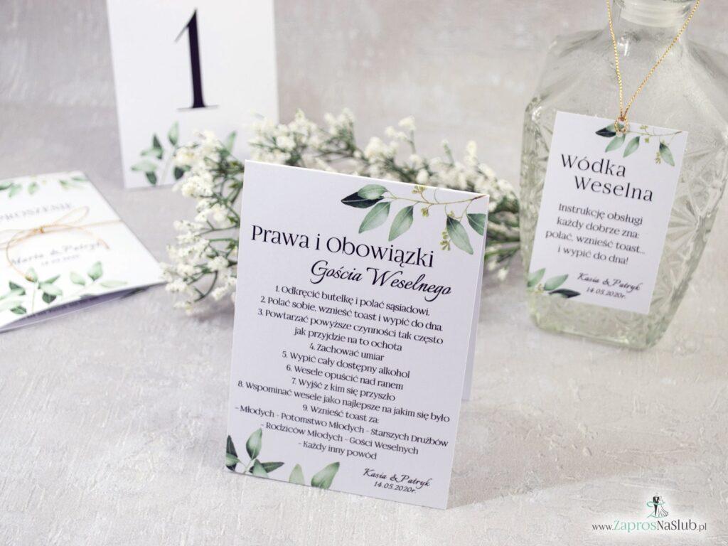 Prawa i obowiązki gościa weselnego z motywem gałązek z zielony liśćmi PiOGW-115-min