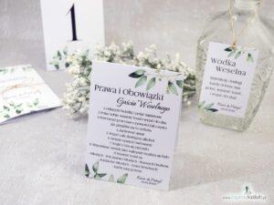 Prawa i obowiązki gościa weselnego z motywem gałązek z zielonymi liśćmi. PiOGW-115