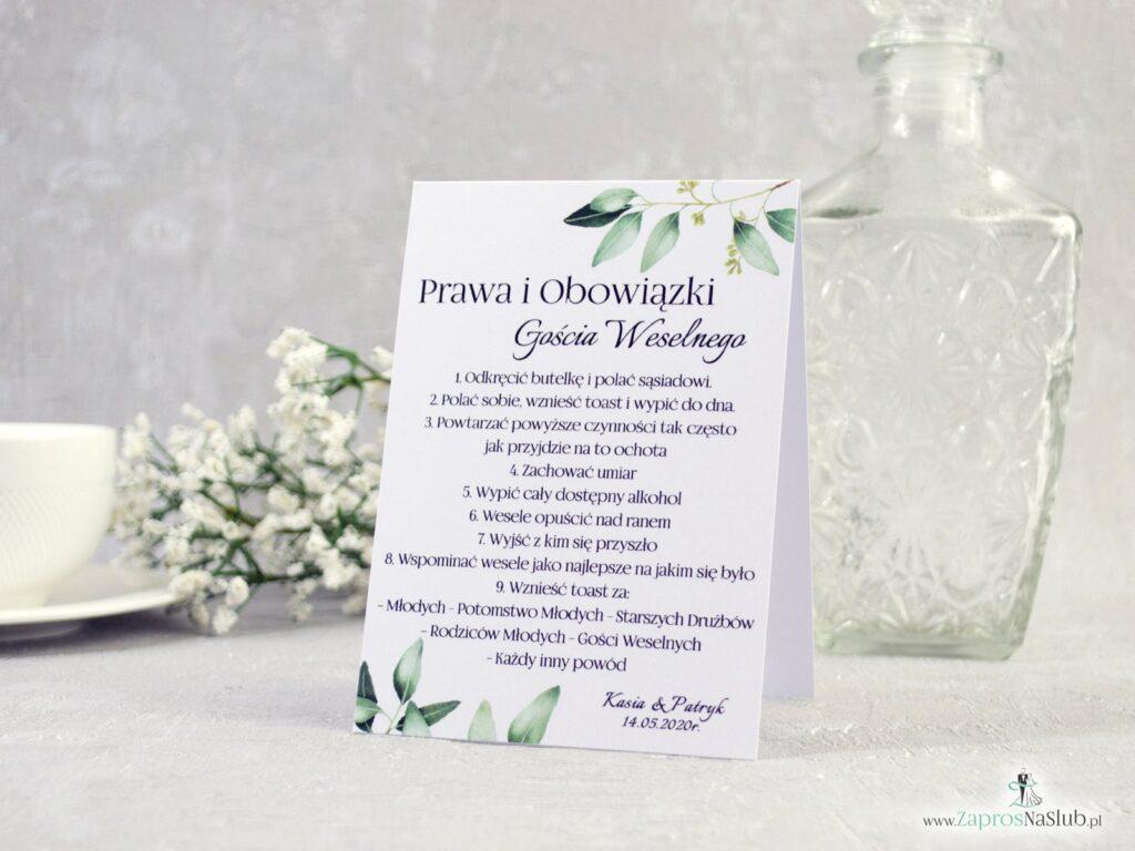 Prawa, obowiązki gościa weselnego, zielone listki na gałązkach, rustykalne PiOGW-115-min