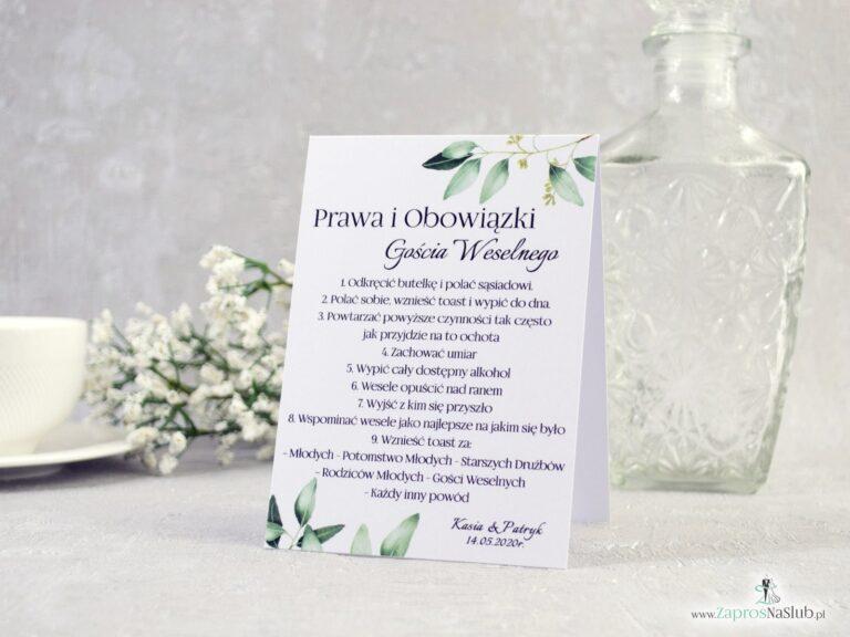 ZaprosNaSlub - Zaproszenia ślubne, personalizowane, boho, rustykalne, kwiatowe księga gości, zawieszki na alkohol, winietki, koperty, plany stołów - Prawa i obowiązki gościa weselnego z motywem gałązek z zielonymi liśćmi. PiOGW-115