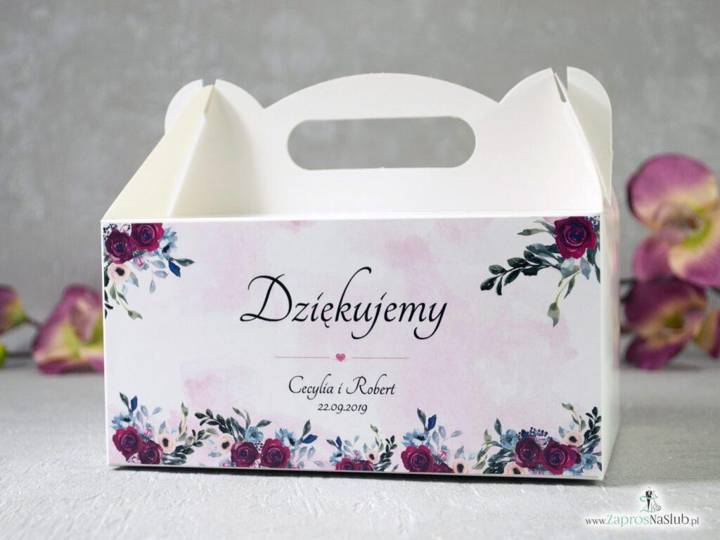 Pudełko na ciasto z bordowymi i różowymi różami z kolorowym tłem PNC-41-06