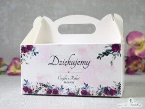 Pudełko na ciasto z motywem kwiatowym bordowych i różowych róż. PNC-41-06