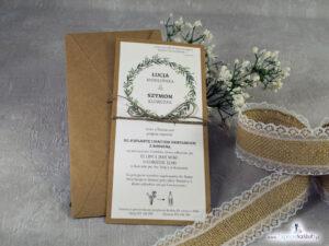 Zaproszenie ślubne eko w stylu rustykalnym z motywem wianka z zielonych liści