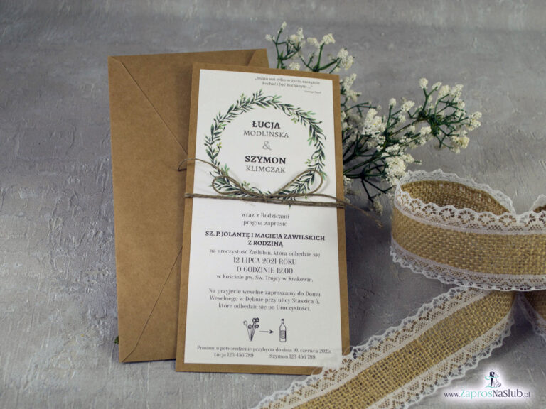 Rustykalne Zaproszenie ślubne w formacie DL eko z motywem zielonych liści i wianka ze sznurkiem eko ZAP-111