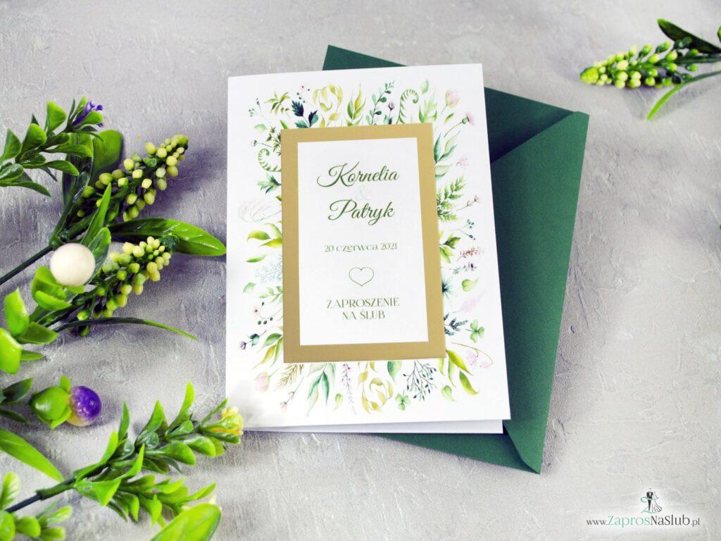 Rustykalne zaproszenia ślubne na ślub z motywem zieloych liści, botaniczne, złoty papier ZAP-123