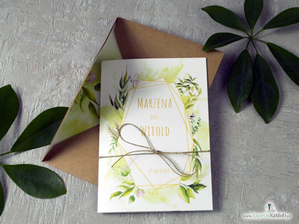 Rustykalne zaproszenia na ślub. Geometryczny wzór, zielone listki, sznurek jutowy eko ZAP-41-01