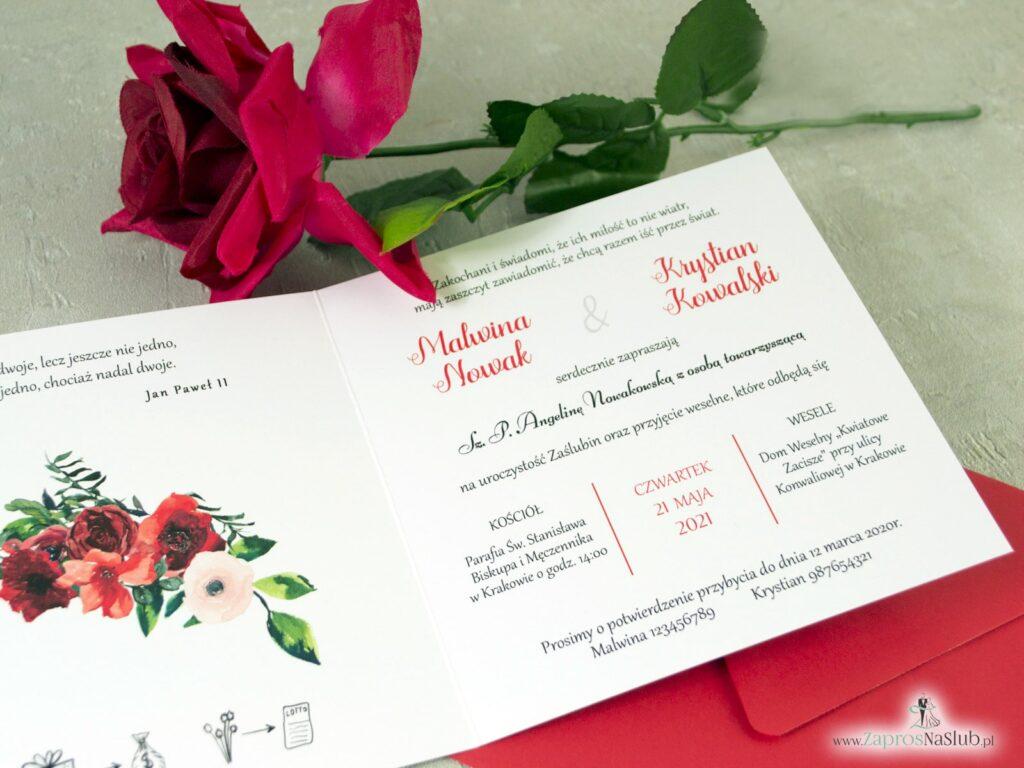 Slubne zaproszenie z kwiatami czerownych róż, złote lustro, czerwone ZAP-124-min