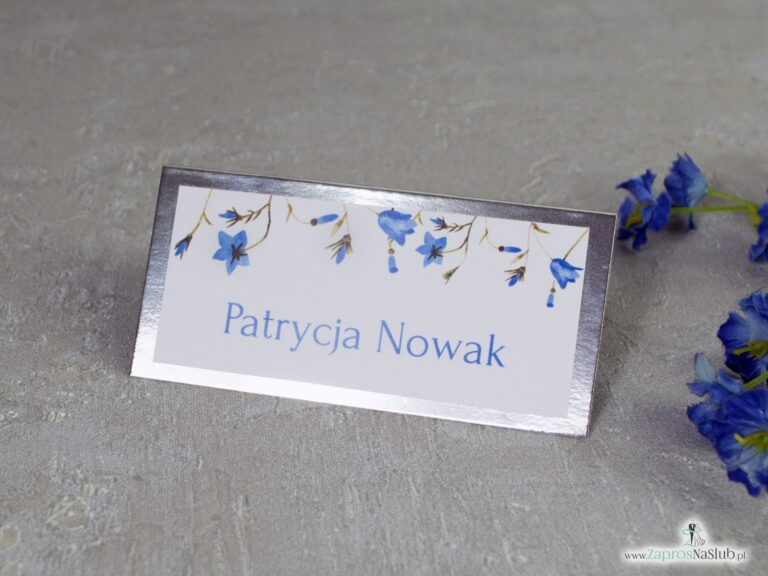 Winietka na srebrnym papierze z niebieskimi kwiatami dzwonków. WIN-124-1 - ZaprosNaSlub