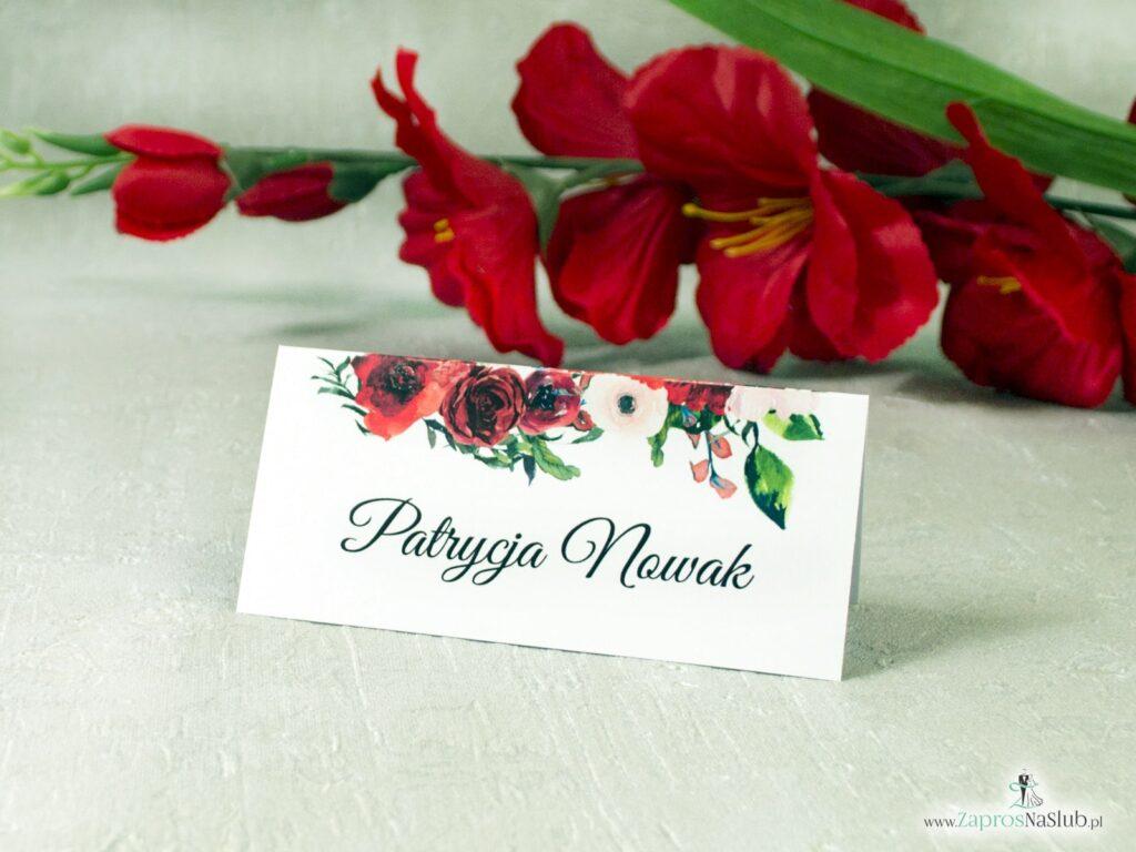 Winietka ślubna, kwiaty czerwone róże, zielone liście ślub WIN-114-2-min