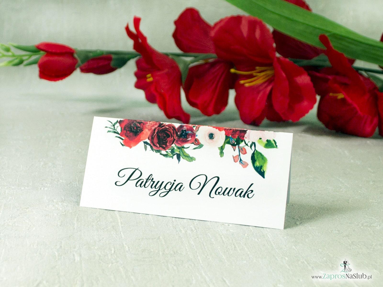 Kwiatowe winietki z motywem czerwonych róż. WIN-114-2