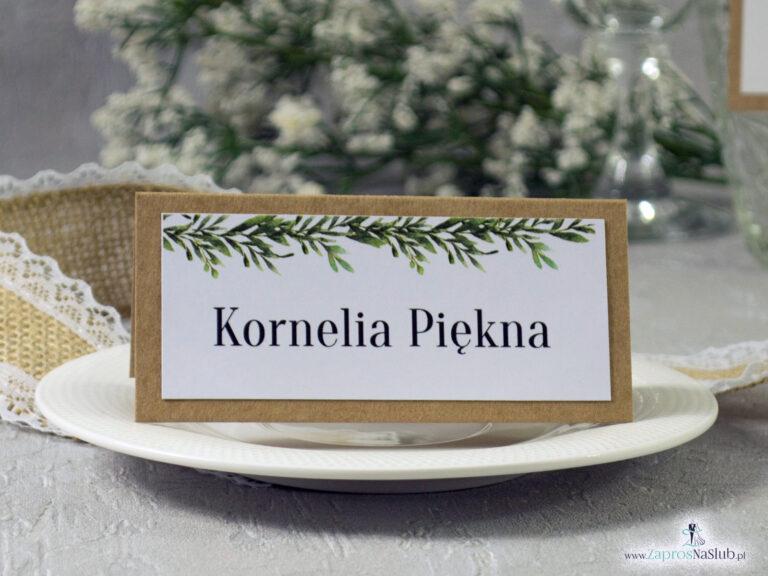 ZaprosNaSlub - Zaproszenia ślubne, personalizowane, boho, rustykalne, kwiatowe księga gości, zawieszki na alkohol, winietki, koperty, plany stołów - Rustykalna winietka na papierze eko z motywem zielonych liści WIN-111-1
