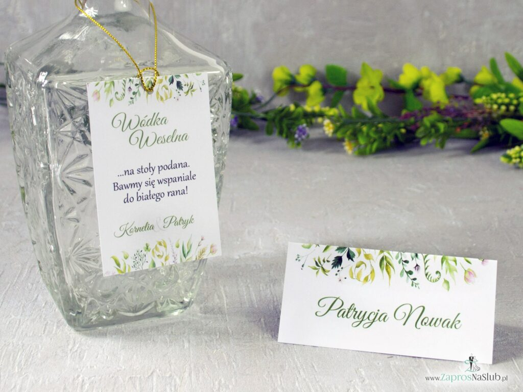 Winietka i zawieszka na butelkę w stylu rustykalnym z motywem zielonych liści ZAP-123