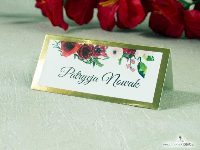 Winietka kwiatowa z czerwonymi różami na złotym papierze z efektem lustra elegancka-min