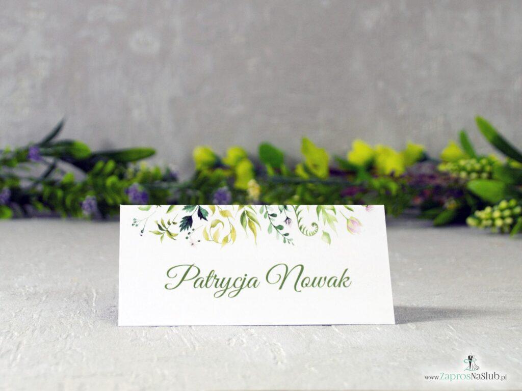 Winietka na stół botaniczna, zielone liście, rustykalna WIN-123-2