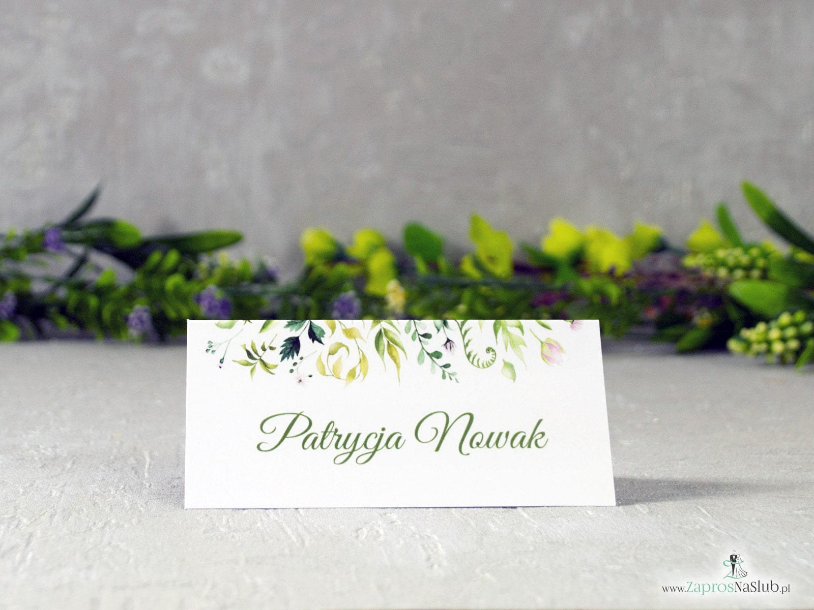 Rustykalne zaproszenia botaniczne z liśćmi w różnych odcieniach. ZAP-123