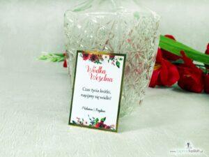 Eleganckie zawieszki na alkohol z motywem czerwonych róż oraz złotego papieru z efektem lustra. ZAW-114-1