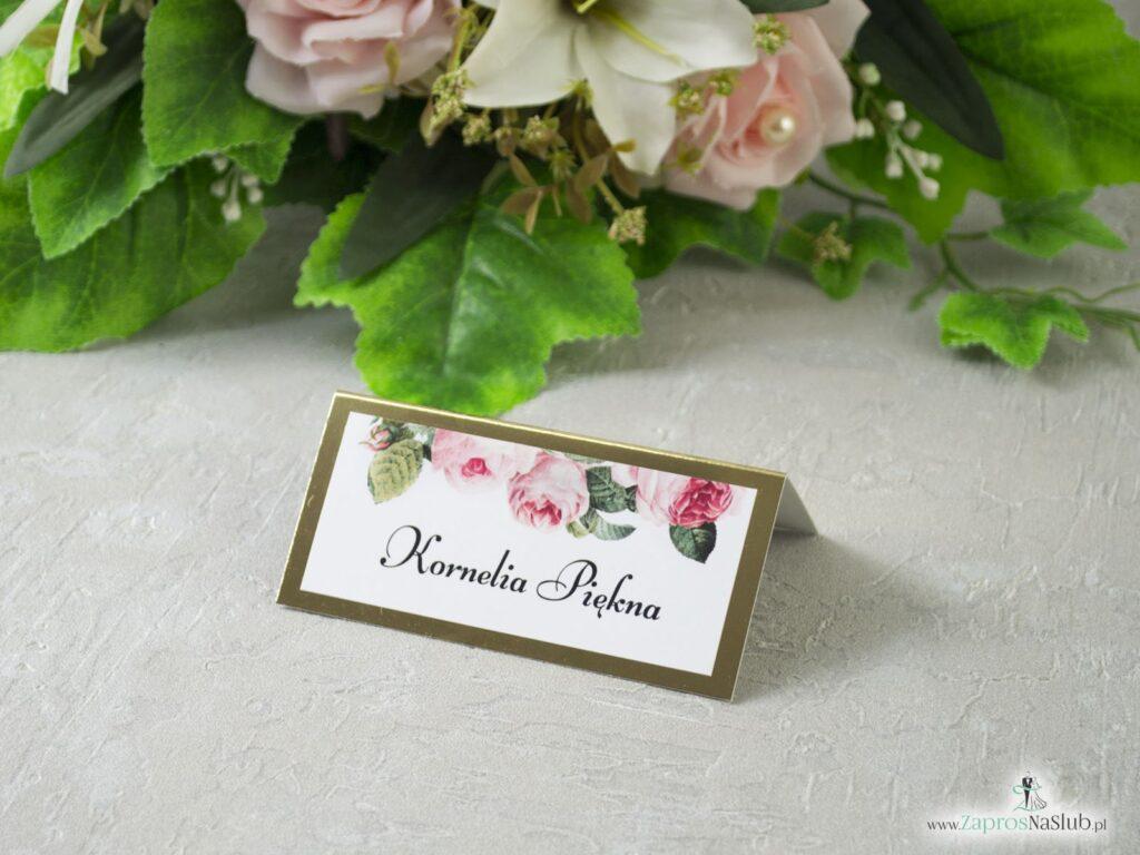 Winietka na złotym papierze z motywem kwiatów róży i zielonych liści WIN-110-1-min