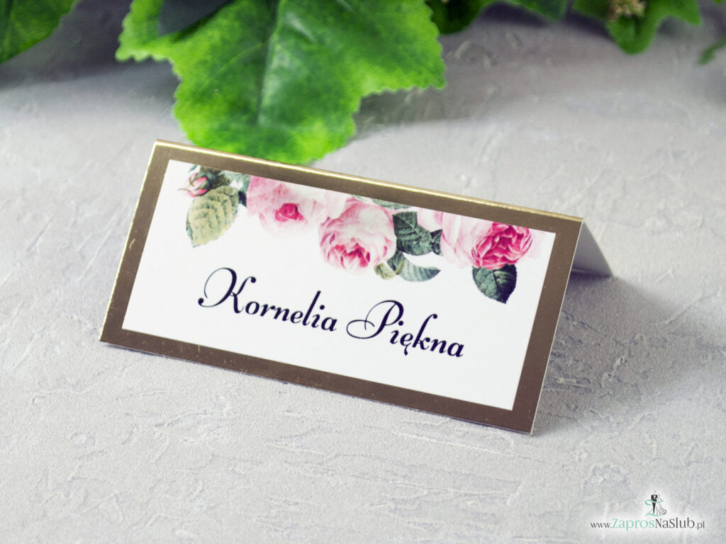 Winietka róże, na złotym papierze efekt lustra WIN-110-1