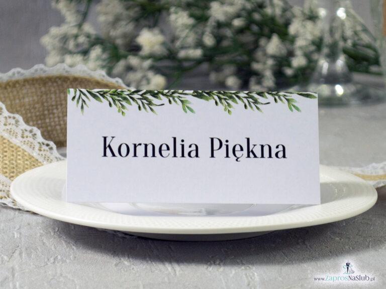 ZaprosNaSlub - Zaproszenia ślubne, personalizowane, boho, rustykalne, kwiatowe księga gości, zawieszki na alkohol, winietki, koperty, plany stołów - Winietka w stylu rustykalnym z motywem zielonych liści WIN-111-2